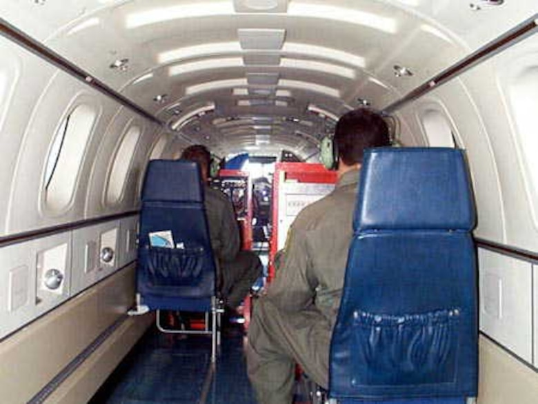For specialized tests, customer provided test equipment may be rack mounted and installed in place of the C-12J's rear ejection seat