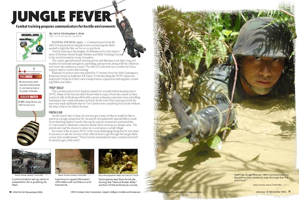 Page design - Jungle Fever. Nov 06 issue.