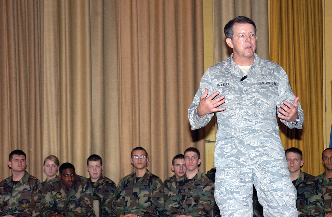 Chief Master Sgt. of the Air Force Rodney J. McKinley answers questions during an enlisted call with Airmen at Tinker's base theater. (Photo by Margo Wright)