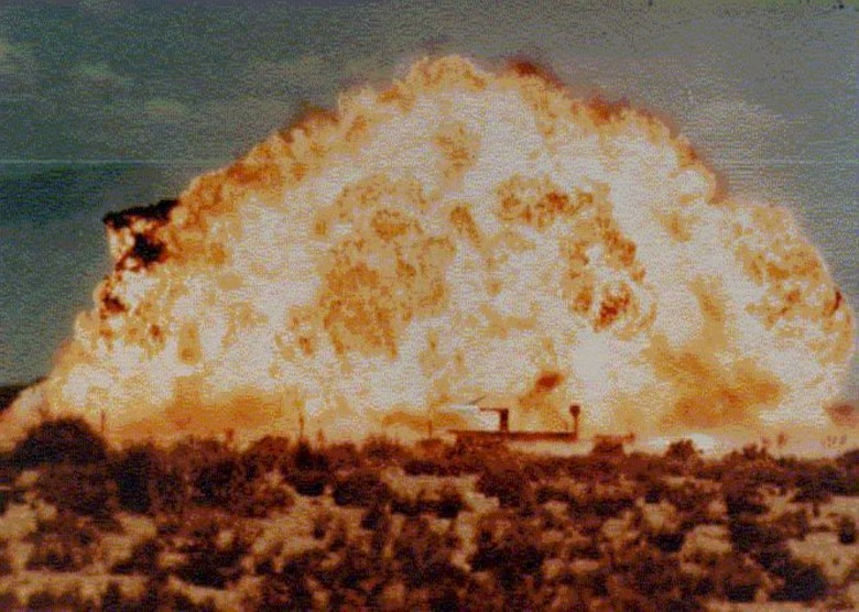 Blast effects on moving sleds are conducted with high-explosive detonations. The objective of blast testing at the track is to simulate an explosive blast shock-wave intercept on full-scale reentry vehicles, components of aircraft, missiles, and aerospace systems during supersonic and hypersonic flight.