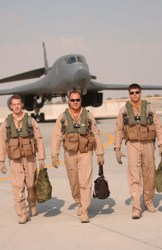 After a 12-hour nighttime close-air support mission over Afghanistan recently, Capt. Craig Morrison, Maj. Mike Jason and Capt. David Grasso walk from a B-1B Lancer. The weapon systems officer, aircraft commander and co-pilot are assigned to the 37th Expeditionary Bomb Squadron, part of the 379th Air Expeditionary Wing in Southwest Asia. (U.S. Air Force photo/Ricky Best)