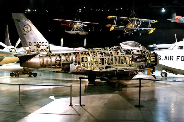DAYTON, Ohio -- North American F-86H in the Cold War Gallery at the National Museum of the United States Air Force. (U.S. Air Force photo by Ben Strasser)
