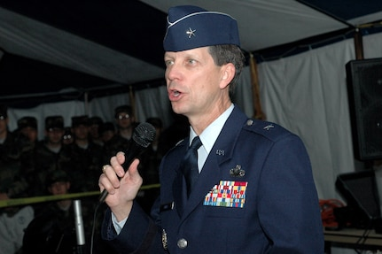 Brig. Gen. Darrell Jones, then the 37th Training Wing commander, addresses the trainees at the Basic Military Training Christmas Eve Extravaganza held Dec. 24, 2006, at Lackland AFB.  (USAF photo by Staff Sgt. Tim Russer)