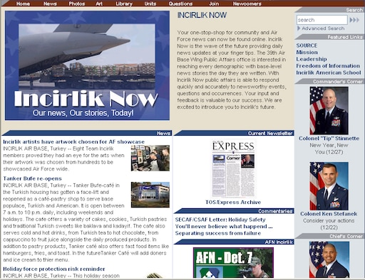 "The Tip of the Sword has gotten a facelift and now the Incirlik community gets news at their finger tips. At first glance the Incirlik Now Web site can seem a bit busy and overwhelming, but with this simple guide seeing ""Our News, Our Stories, Today"" is as easy as clicking a button. Since the Web site is a public site, this guide can assist your mother who is sitting in North Carolina, your spouse who is sitting at home or you with navigating through the Internet world of Incirlik. (Courtesy graphic)"