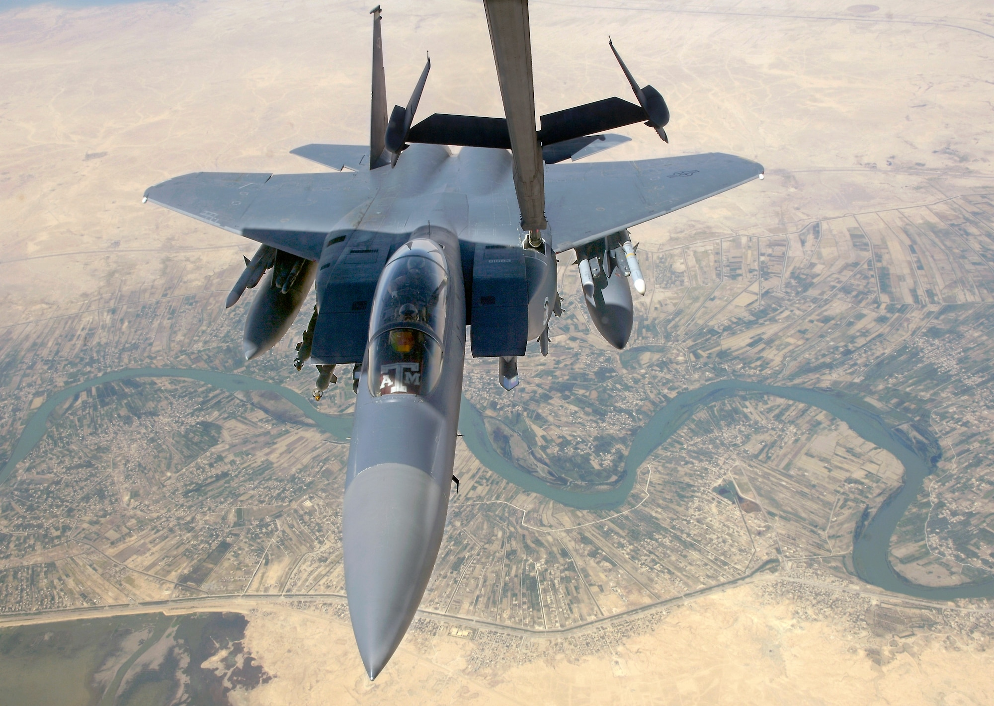 F-15E Strike Eagles, similar to this one refueling over Iraq, play a critical role daily in providing close-air support to ground forces in contact with anti-Iraqi forces as part of Operation Iraqi Freedom. (U.S. Air Force photo/Senior Airman Brian Ferguson)