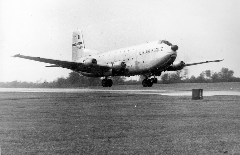 The 442nd Airlift Wing received the Air Force Reserve's first C-124 Globemaster cargo planes in April 1961. The wing flew these aircraft until 1971 when the wing transitioned to C-130 Hercules aircraft. Here, a C-124 lands at Richards-Gebaur Air Force Base in Kansas City.