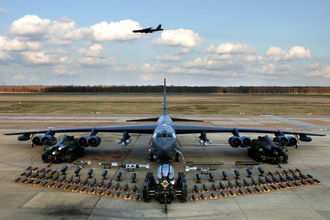 BARKSDALE AIR FORCE BASE, La. (AFPN) -- Munitions on display show the full capabilities of the B-52 Stratofortress. (U.S. Air Force photo by Tech. Sgt. Robert J. Horstman)
