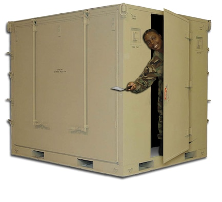 The new Single Pallet Expeditionary Kitchen fits onto one C-130, 463L load pallet. It can be operated by as few as four Airmen and takes eight Airmen four hours to set up and two additional hours to begin service for up to 550 troops in a two-hour period.