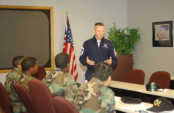 CANNON AIR FORCE BASE, N.M. -- Chief Master Sgt. Wade Johnson, 12th Air Force command chief listens to Airmen in the First Term Airmen Center during his visit to Cannon Feb. 1. (U.S. Air Force photo by Staff Sgt. April Wickes)