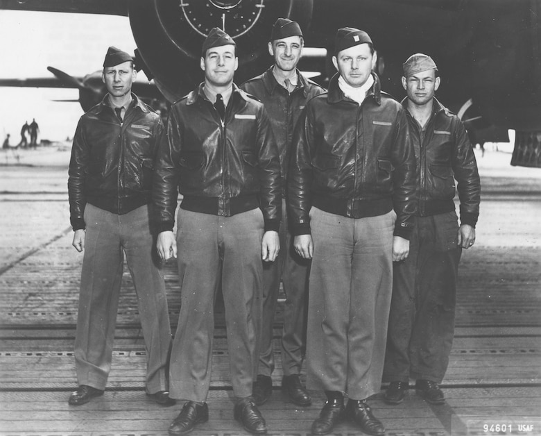Crew No. 2 (Plane #40-2292, target Tokyo): 37th Bombardment Squadron, Lt. Travis Hoover, pilot; Lt. William N. Fitzhugh, copilot; Lt. Carl R. Wildner, navigator; Lt. Richard E. Miller, bombardier; Sgt. Douglas V. Radney, flight engineer/gunner. (U.S. Air Force photo)