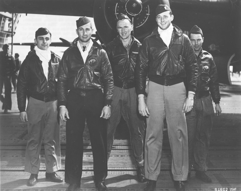 Crew No. 3 (Plane #40-2270, target Tokyo): 95th Bombardment Squadron, Lt. Robert M. Gray, pilot; Lt. Jacob E. Manch, copilot; Lt. Charles J. Ozuk Jr., navigator; Sgt. Aden E. Jones, bombardier; Cpl. Leland D. Faktor, flight engineer/gunner. (U.S. Air Force photo)