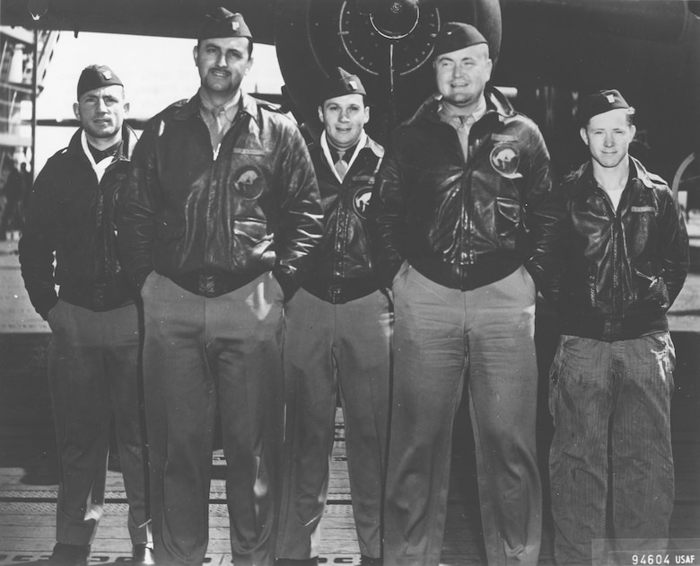 Crew No. 5 (Plane #40-2283, target Tokyo): 95th Bombardment Squadron, Capt. David M. Jones, pilot; Lt. Ross R. Wilder, copilot; Lt. Eugene F. McGurl, navigator; Lt. Denver V. Truelove, bombardier; Sgt. Joseph W. Manske, flight engineer/gunner. (U.S. Air Force photo)