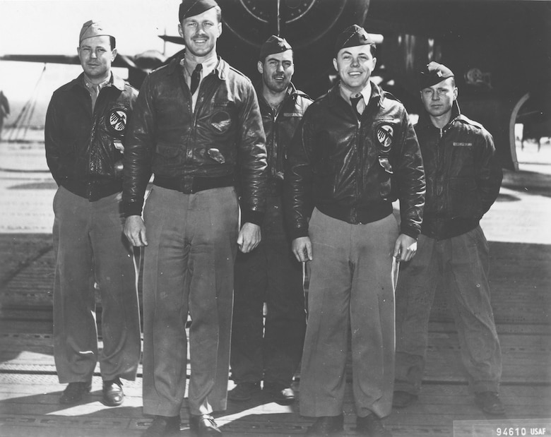 Crew No. 11 (Plane #40-2249, target Yokohama): 34th Bombardment Squadron, Capt. C. Ross Greening (89th RS), pilot; Lt. Kenneth E. Reddy, copilot; Lt. Frank A. Kappeler, navigator; SSgt. William L. Birch, bombardier; Sgt. Melvin J. Gardner, flight engineer/gunner. (U.S. Air Force photo)