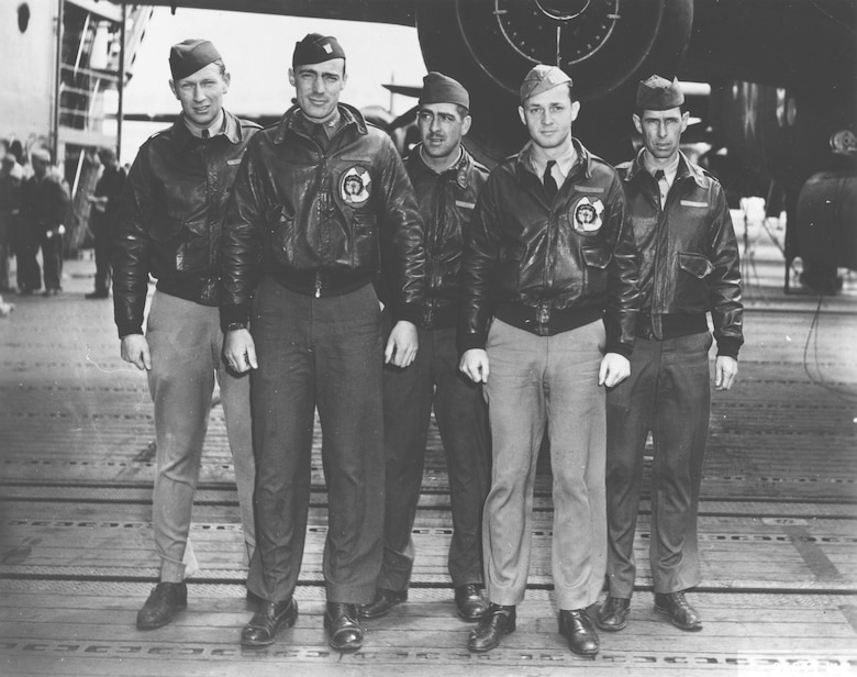 Crew No. 12 (Plane #40-2278, target Yokohama): 37th Bombardment Squadron, Lt. William M. Bower, pilot; Lt. Thadd H. Blanton, copilot; Lt. William R. Pound Jr., navigator; TSgt. Waldo J. Bither, bombardier; SSgt. Omer A. Duquette, flight engineer/gunner. (U.S. Air Force photo)