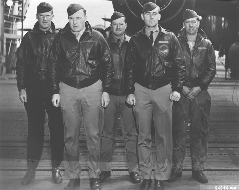 Crew No. 15 (Plane #40-2267, target Nagoya): 89th Reconnaissance Squadron, Lt. Donald G. Smith, pilot; Lt. Griffith P. Williams, copilot; Lt. Howard A. Sessler, navigator/bombardier; Lt. Thomas R. White, flight engineer; Sgt. Edward J. Saylor, gunner. (U.S. Air Force photo)