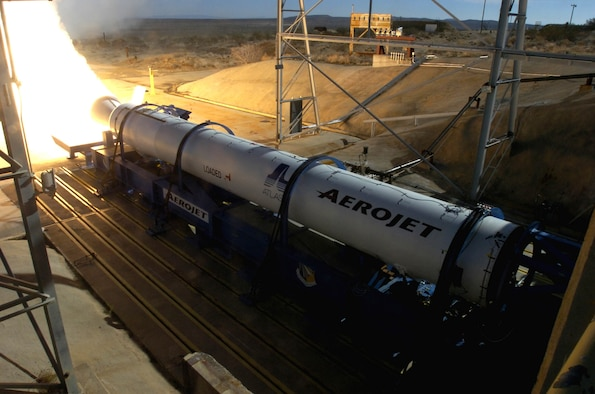 EDWARDS AIR FORCE BASE, Calif. — The Air Force Research Laboratory's Edwards Research Site helped static-fire the third Aerojet Block B Solid Rocket Booster for the Atlas V system. (Air Force photo)
