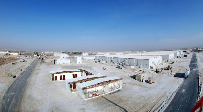 SOUTHWEST ASIA (AFPN) -- From a bird's eyes view the new Temporary Cantonment Area for the 380th Air Expeditionary Wing begins to take shape. Units with the Wing are expected to move into the new facilities in April. (U.S. Air Force photo by Joey Shumate)