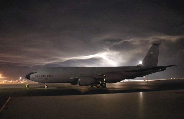 A KC-135 Stratotanker sits on the flightline at Manas Air Base, Kyrgyzstan, Thursday, Feb. 23, 2006. Ground crews will have to de-ice the tanker before it can take off on a refueling mission. (U.S. Air Force photo/Staff Sgt. Paul Clifford)