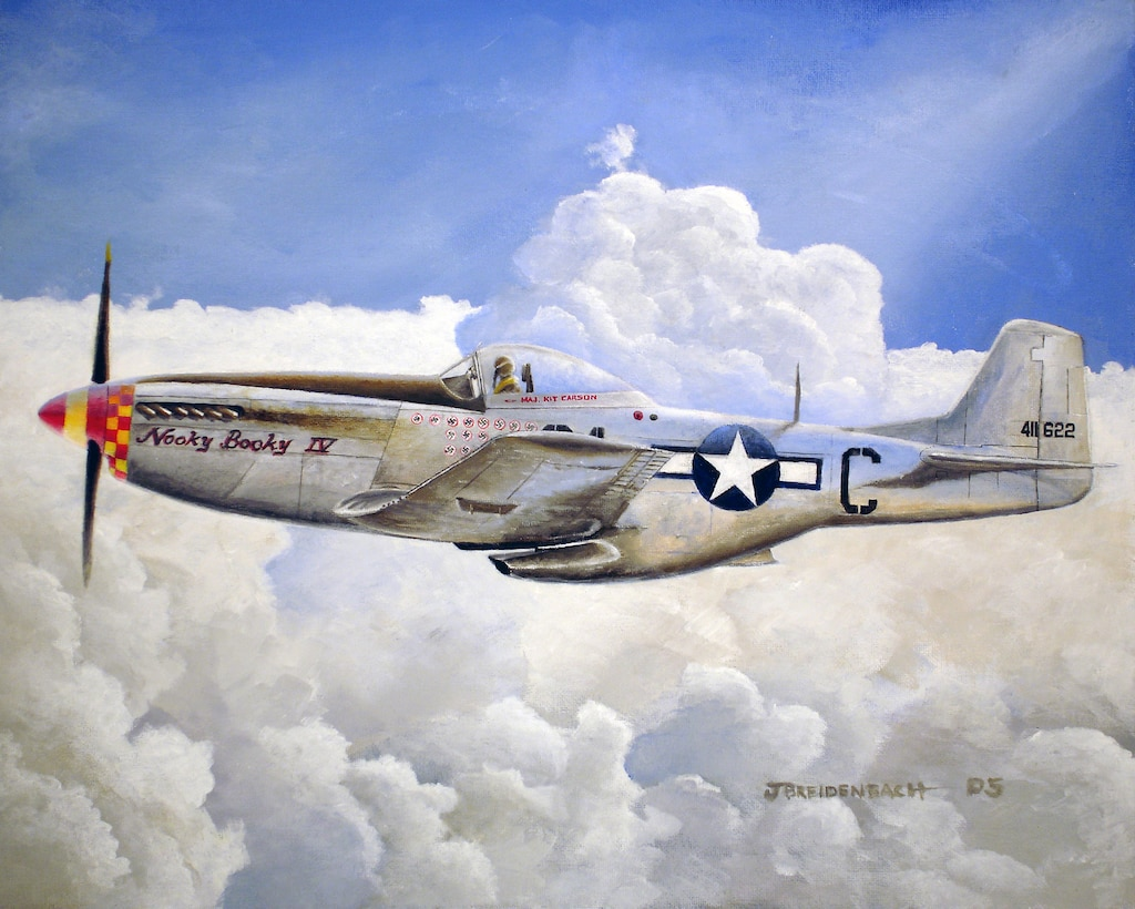 "P-51 Nooky-Booky IV, 8x10 inches @ 300 ppi.  Art provided by Jason Breidenbach.  The P-51 Nooky-Booky IV was the forth P-51 flown by Major Leonard ""Kit"" Carson.  He was the Top scorer of the 357th Fighter Group with 18.5 victories with an additional 3.5 more by strafing.  Most of his victories were in the last six months of the war flying this aircraft.  Reproduction of this image is not permitted without prior approval."""