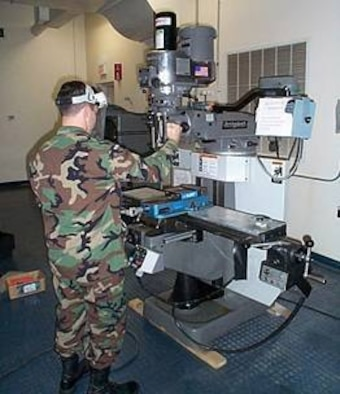 A Space CHOP participant builds threat hardware. (Air Force photo)