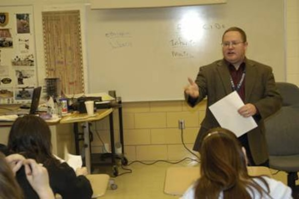 Retired Senior Master Sgt. Eric Combs, a ninth-grade history teacher at Fairborn High School, was named the 2005 Ohio Outstanding Teacher of the Year.  Sergeant Combs entered the profession through Troops to Teachers.  (Courtesy photo)
