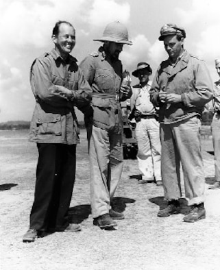 Colonels Allison and Cochran confer with British General Orde Wingate in India before Operation THURSDAY. Wingate's concept of long-range penetration (LRP) proved to be successful when coupled with the capabilities of the 1 ACG. The ability to rapidly insert supplies, equipment, and fresh troops, as well as evacuate wounded was a major factor in the success of the Burma operations.