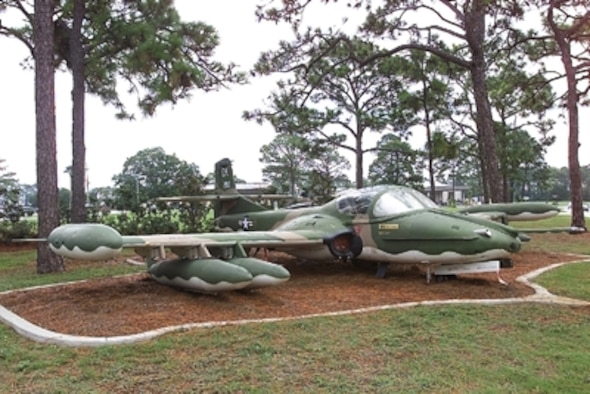 The A-37 Dragonfly was developed in 1963 by modifying the Cessna-built T-37 trainer. It sported two General Electric J85-GE-17A turbojet engines, which developed 2,850 pounds of thrust. The wingspan of this plane was 35 feet, 10 inches. Its length was 29 feet, 3 inches and the plane's height was 8 feet, 10 inches. The aircraft weight 14,000 pounds fully loaded. Its maximum speed was 507 mph at 16,000 feet with a range of 460 miles.