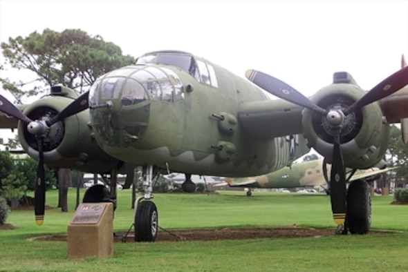 The North American B-25 was named after Billy Mitchell, the American General who advocated greater airpower in the armed forces. A production B-25 took its maiden flight Aug. 19, 1940. It was powered by two Wright R-2600-9 Cyclone engines which delivered a total of 3,400 horsepower.