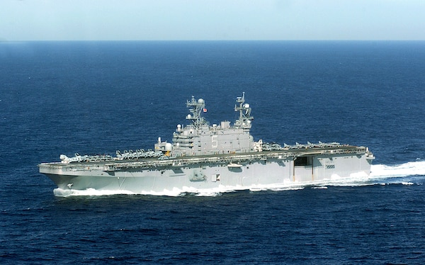 The amphibious assault ship USS Peleliu (LHA 5) underway off the coast of Southern California. Peleliu and Expeditionary Strike Group Three (ESG-3) are conducting their Joint Task Force Exercise (JTFX) prior to an upcoming scheduled deployment.