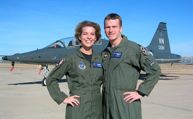 VANCE AIR FORCE BASE, Okla. (AFPN) -- Capts. Rob and Beth Makros, T-38 instructor pilots with the 25th Flying Training Squadron here, were recently selected for assignment to the 509th Bomb Wing at Whiteman Air Force Base, Mo., as B-2 Spirit bomber pilots. (U.S. Air Force photo)