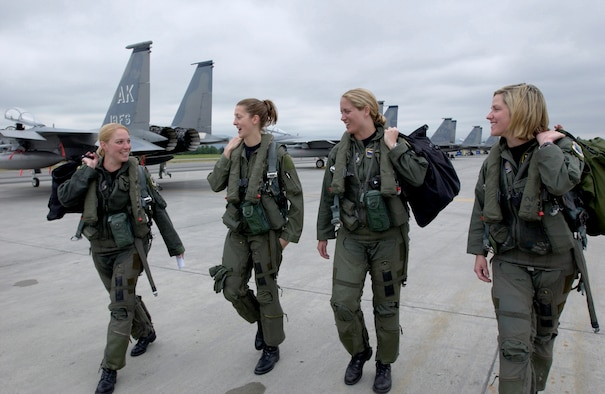 Four F-15 Eagle pilots from the 3rd Wing walk to their respective jets at Elmendorf Air Force Base, Alaska, on Wednesday, July 5, for the fini flight of Maj. Andrea Misener (far left). To her right are Capt. Jammie Jamieson, Maj. Carey Jones and Capt. Samantha Weeks. (U.S. Air Force photo/Tech. Sgt. Keith Brown)