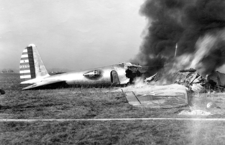 The XB-17 (Model 299) crashed during its test flight at Wright Field on Oct. 30, 1935. (U.S. Air Force photo)