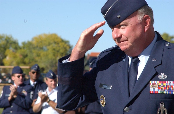 F.E. WARREN AIR FORCE BASE, Wyo.— The former director of the Logistics and Communications Directorate, Air Force Space Command, assumed command of the Twentieth Air Force Oct. 14 in a change-of-command ceremony at Argonne Parade Field here. Brigadier General Thomas F. Deppe succeeded Lieutenant General Frank G. Klotz, who became the vice commander of AFSPC. (Photo by Airman 1st Class Tessa Cubbon)
