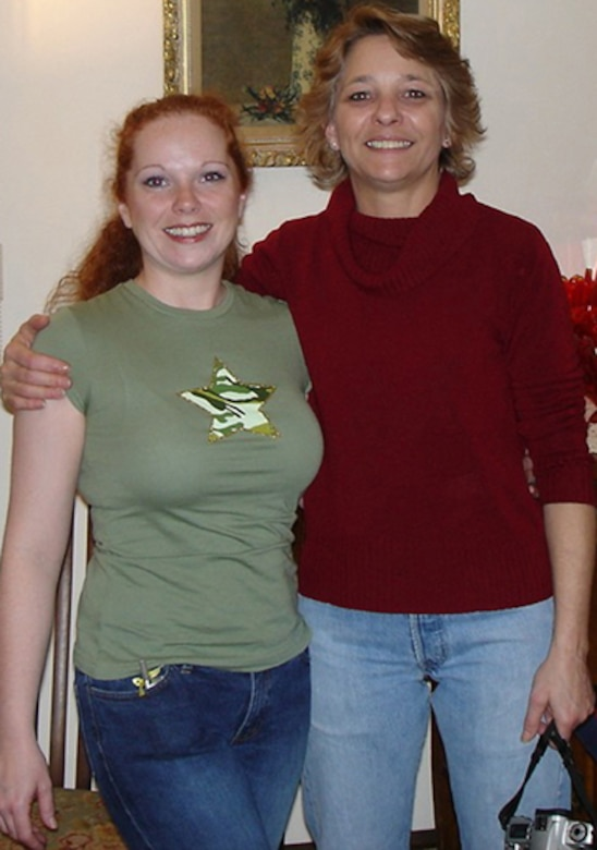 Sergeant Blade, left, and her birth mother, Marsha Gibson, during their reunion in Centralia, Wash.