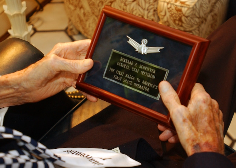 WASHINGTON, D.C. -- Gen. Bernard Schriever receives the first Air Force Space Badge May 25, 2005. General Schriever died June 20, 2005. Falcon Air Force Base became Schriever AFB in his honor June 5, 1998, making it the first base named after a living person. (U.S. Air Force photo/Ron Hall)