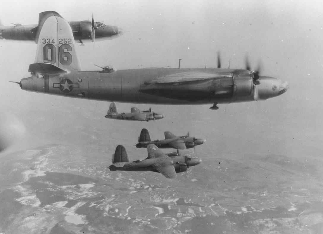 Formation of Martin B-26Gs of the 320th Bomb Group. Closest aircraft is B-26G-5-MA (S/N 43-34252). (U.S. Air Force photo)