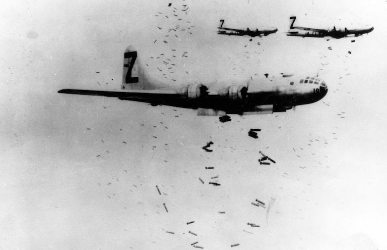 A B-29 releases incendiary bombs on Yokohama in May 1945. (U.S. Air Force photo)