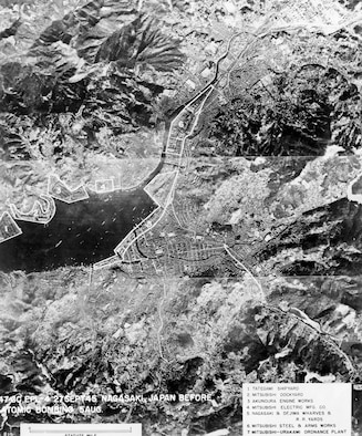 Aerial reconnaissance photo of Nagasaki, Japan, taken on Aug. 5, 1945. Military and industrial target areas are outlined and numbered (legend at lower left corner of photo). (U.S. Air Force photo)