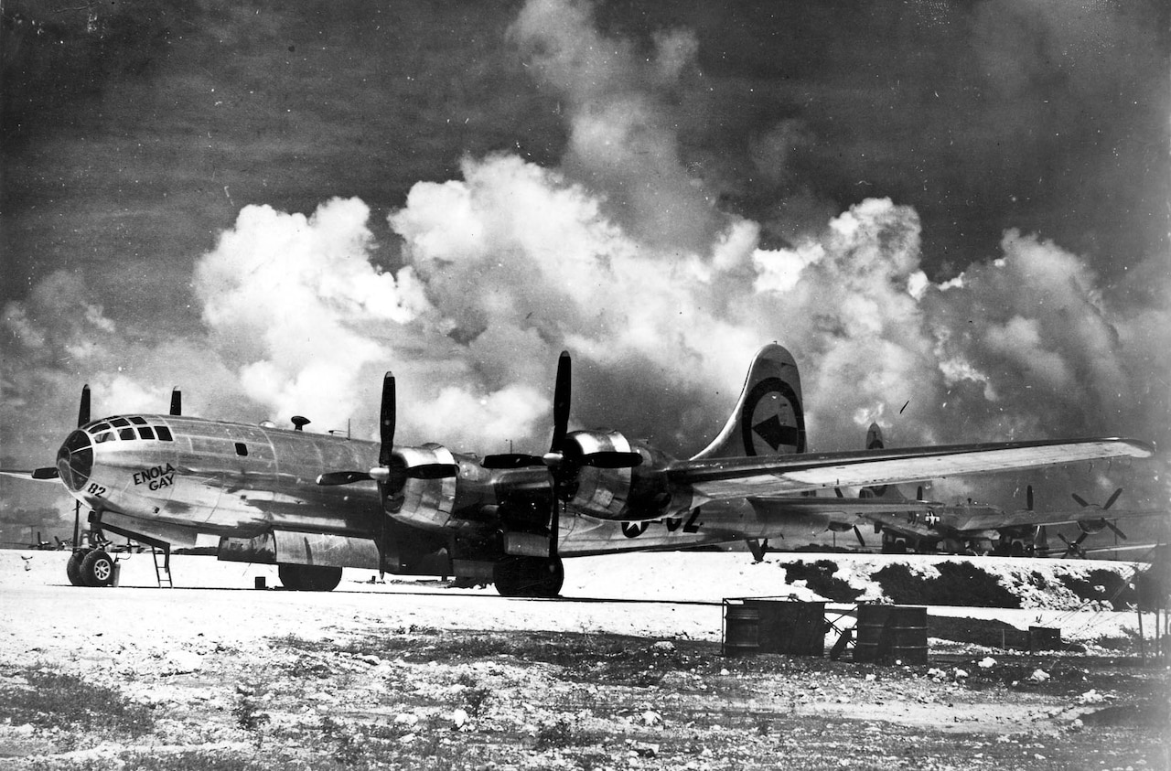 "Boeing B-29 ""Enola Gay"" on Tinian in the Marianas Islands. (U.S. Air Force photo)"