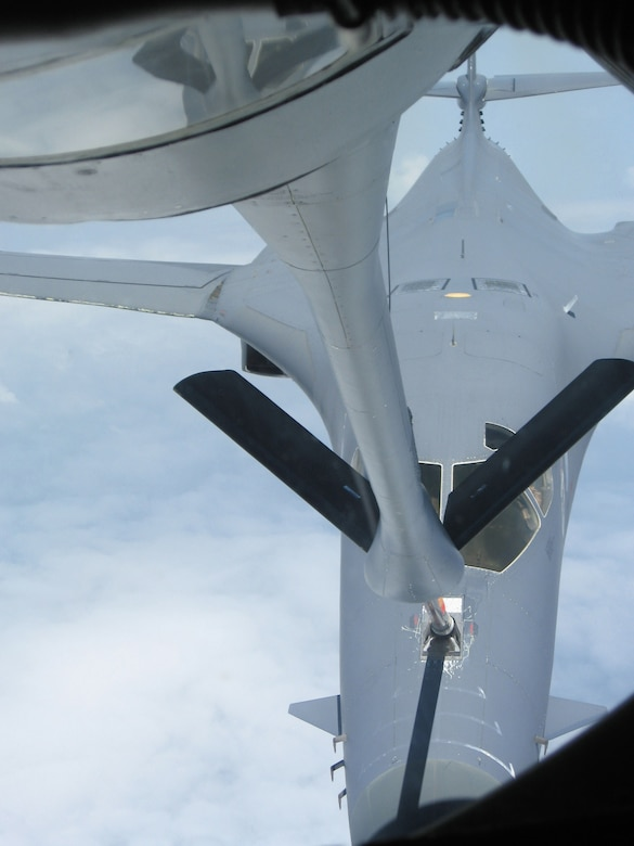 A B-1B Lancer refuels from a KC-135 Stratotanker during a recent Operation Enduring Freedom mission.  Both aircraft are deployed to the 40th Air Expeditionary Group (Photo by Tech. Sgt. Jason Smith)