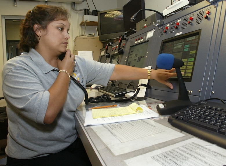 Veronica Grantham works dispatch for the fire department at the new Joint Communications Center.