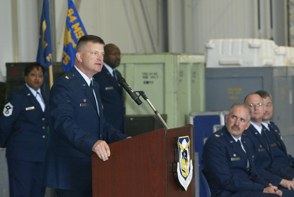 """Maj. Kent D. Hansen assumed command of the 94th Security Forces Squadron.  Addressing members of his new squadron, Major Hansen said, """"I am honored and dedicated to serve with you."""""""