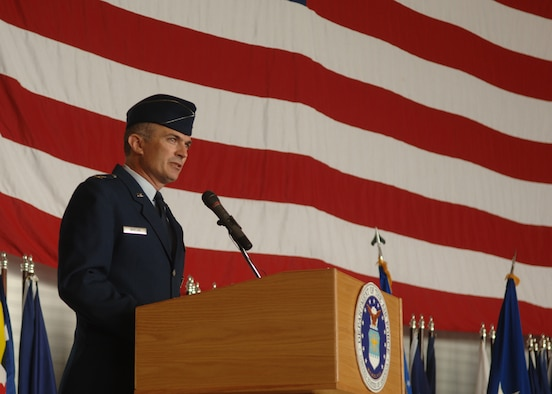 MINOT AIR FORCE BASE, N.D. -- Col. Marty Whelan, the 91st Space Wing commander, delivers a speech during his assumption of command ceremony at Dock 7 here July 6. (U.S. Air Force photo by  Staff Sgt. Joe Laws)