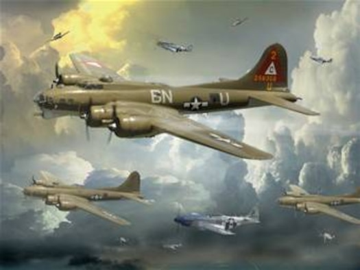 "B-17 ""Air Mission WWII""  created by Ken Chandler. This image is 10x7.5 @ 300 ppi. Printable (PDF) files for this image, up to 18x24 inches @ 300 ppi, are avilable to members of the armed forces by contacting art.afnews.af.mil.  This image is copyrighted and is the property of Ken Chandler and is available only to members of the armed forces and military organizations."