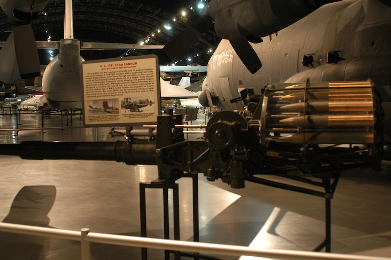 DAYTON, Ohio - T9E1 75mm Cannon on display at the National Museum of the U.S. Air Force. (U.S. Air Force photo)