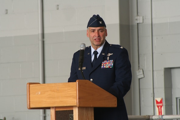 Col. (Dr.) David Rhodes addresses his group July 20.  (U.S. Air Force Photograph by Staff Sgt. Kelly Ogden)