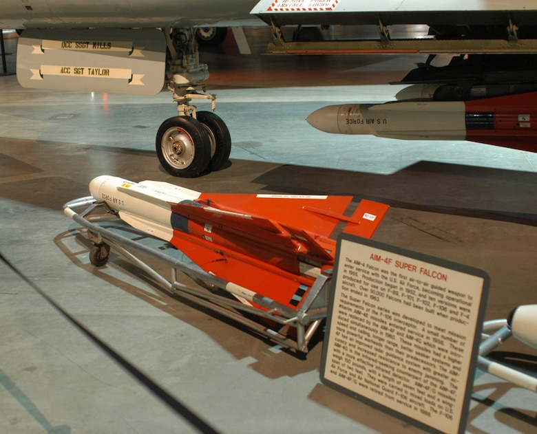 DAYTON, Ohio - Hughes AIM-4F Super Falcon Air-to-Air Missile on display at the National Museum of the U.S. Air Force. (U.S. Air Force photo)