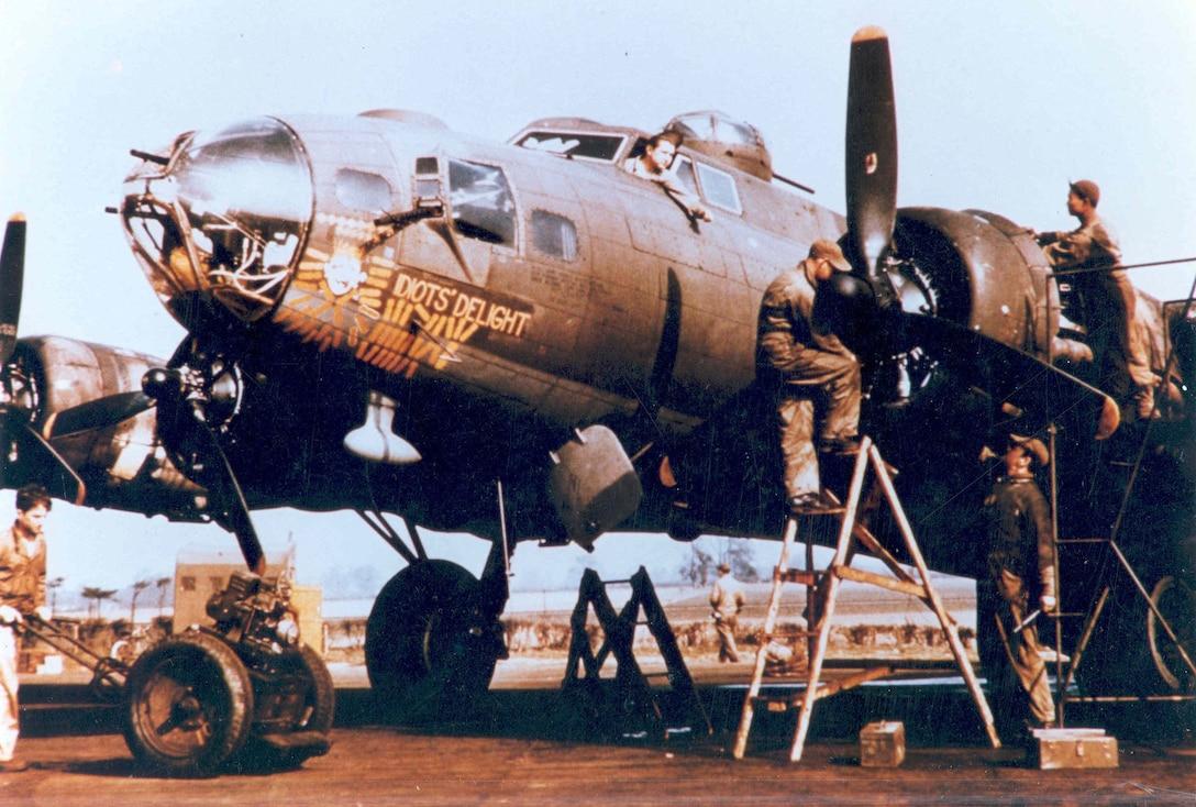 "Boeing B-17F-95-BO (S/N 42-30301) ""Idiot's Delight"" (XM-J) of the 94th Bomb Group, 332nd Bomb Squadron. (U.S. Air Force photo)"