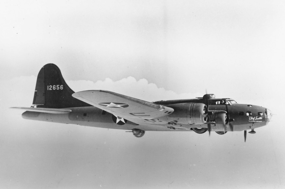 "Boeing B-17E ""Chief Seattle from the Pacific Northwest"" (S/N 41-2656) in flight. (U.S. Air Force photo)"