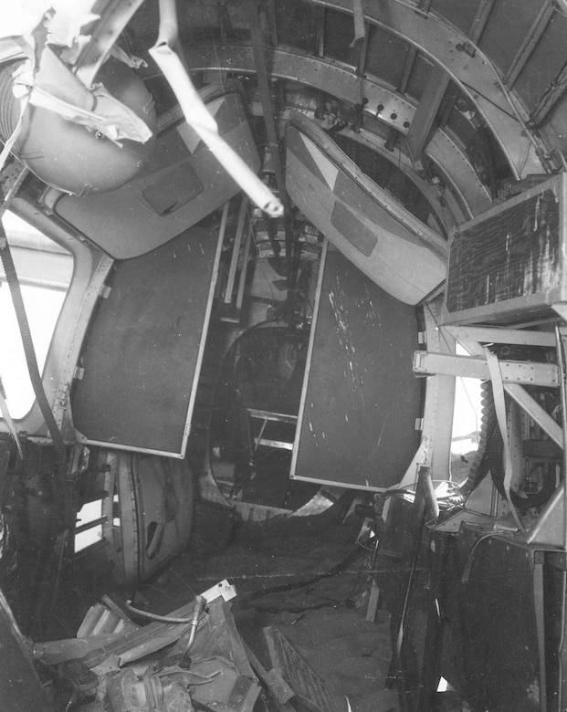 "Interior view of the Consolidated B-24D ""Lady Be Good"" at the waist gunner positions. (U.S. Air Force photo)"